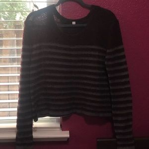 Maroon/Grey Long Sleeve Cropped Sweater